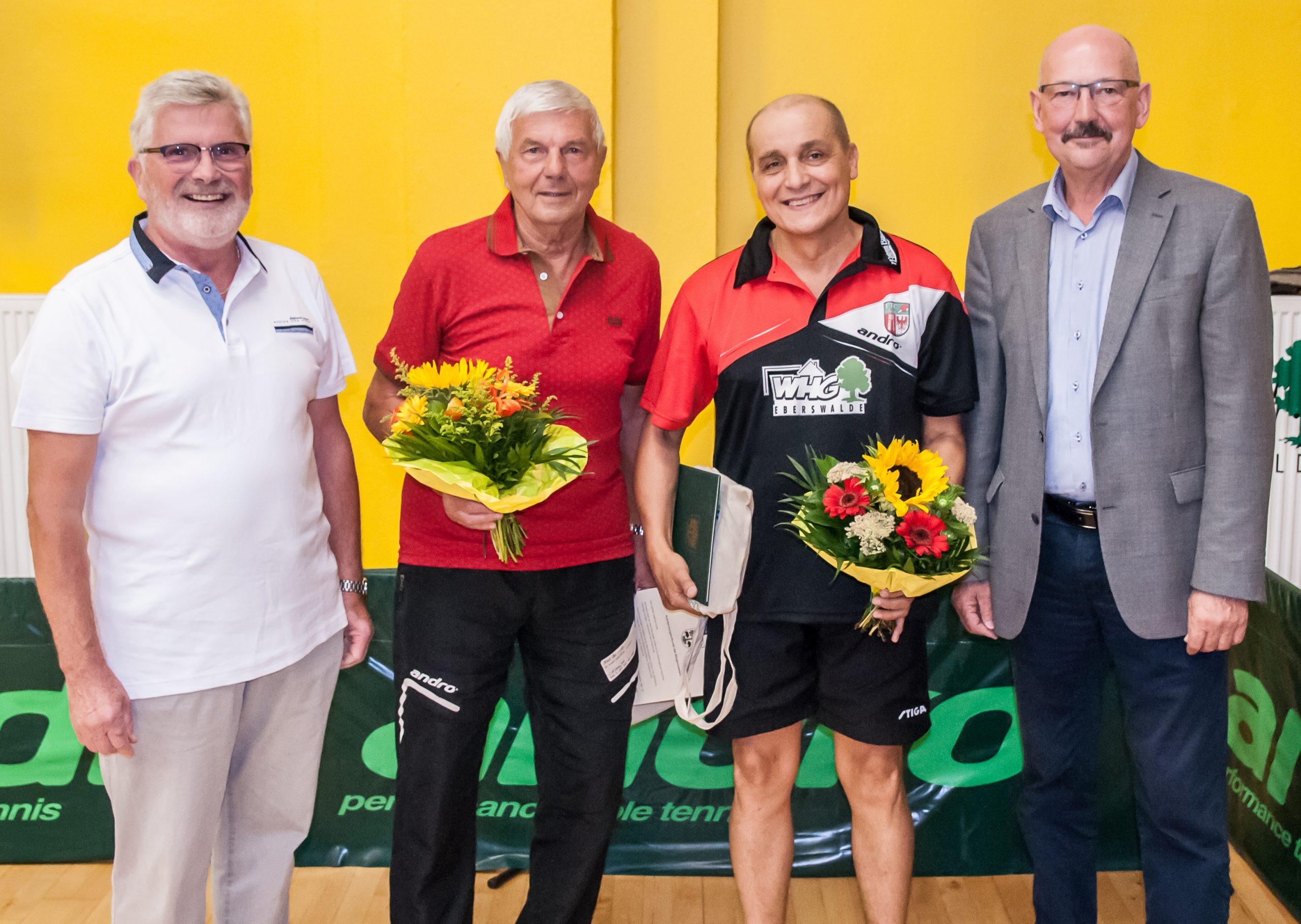 Jürgen Krenz (Präsident TTC Finow), Siegfried Lemke, Bernhard Thiel, Friedhelm Boginski